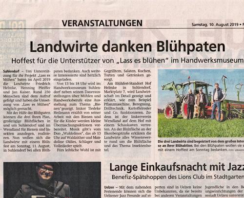 Lass es blühen - Presse Uelzener Anzeiger August 2019